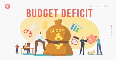 Budget Deficit Landing Page Template. Businessman Character Tight Huge Budget Sack with Belt. Business Economy Crisis