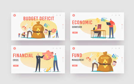 Budget Deficit Landing Page Template Set. Tiny Businessman Character Tight Budget Sack with Belt. Economy Crisis