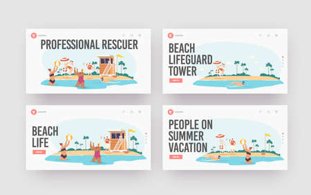 Professional Rescuer Landing Page Template Set. Characters Relax on Sea Coastline with Beach Lifeguard Tower, Caution