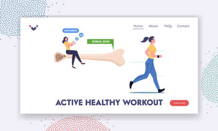 Active Healthy Workout Landing Page Template. Osteoporosis Disease Prevention, Tiny Female Character Sit on Healthy Bone