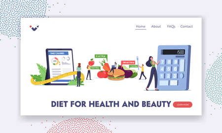 Mobile App Calculator for Nutrition and Dieting Landing Page Template. Characters Counting Calories Using Application