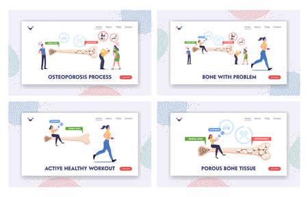 Osteoporosis Landing Page Template Set. Tiny Male Female Characters with Bones Disease Symptoms near Huge Bone
