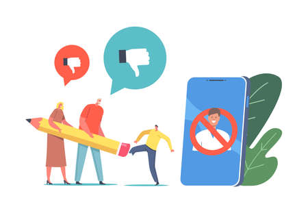Cancel Culture Ban Erase Identity, Boycott Concept. Tiny Characters Erasing Person with Pencil Eraser at Huge Smartphone