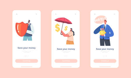 Save your Money Mobile App Page Onboard Screen Template. Businesspeople Characters Stand under Umbrella with Piggy Bank