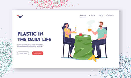 Plastic in Daily Life Landing Page Template. Characters Dining on Used Cup instead of Table with Trash around