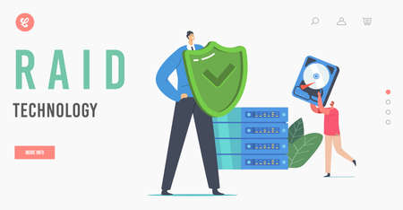 Data Backup Raid Modern Technologies Landing Page Template. Tiny Characters with Shield and Hard Disk at Huge Pc Block