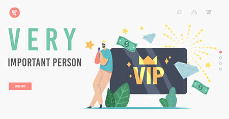 Very Important Persons Landing Page Template. Male Character in Gold Crown Use Gold Card for Getting Privileged Services Vetores