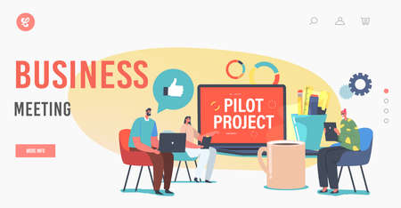 Business Meeting Landing Page Template. Focus Group Discussing Pilot Start Up Project. Tiny Businesspeople Conference Ilustração