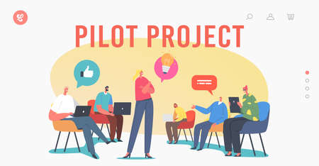 Pilot Project Landing Page Template. Business Characters Focus Group Work Together Developing Creative Ideas, Teamwork Ilustração