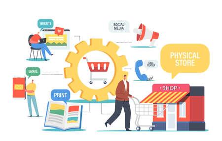 Omnichannel, Digital Marketing Concept, Several Communication Channels Between Seller and Customer. Character Visit Shop Ilustração