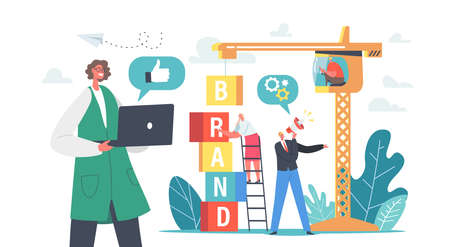 Brand Building Concept. Business Characters Work on Crane Create Corporate Identity, Company Personality Development
