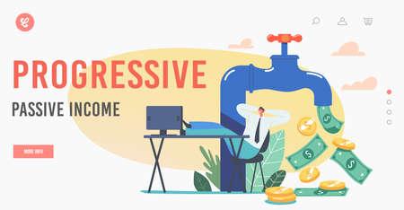 Progressive Passive Income Landing Page Template. Tiny Businessman Sitting with Legs on Office Desk near Huge Money Tap Ilustração