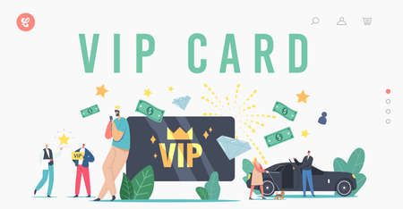 VIP Card, Celebrity Persons Lifestyle Landing Page Template. Characters with Gold Cards Premium Service, Woman with Dog