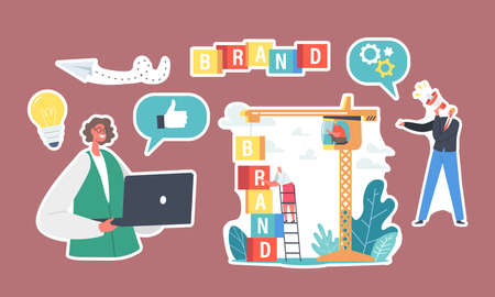 Set of Stickers Brand Building. Business Characters Work on Crane Create Corporate Identity, Woman with Laptop Ilustração