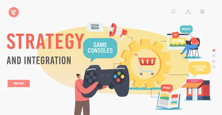 Omnichannel, Digital Marketing Strategy and Integration Landing Page Template. Customer Character Use Game Console Ilustração