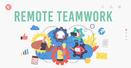 Remote Teamwork Landing Page Template. Webcam Group Conference with Coworkers. Business Characters, Online Video Call Ilustração
