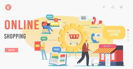 Online Shopping Landing Page Template. Omnichannel, Digital Marketing, Communication Channel Between Seller and Customer Ilustração