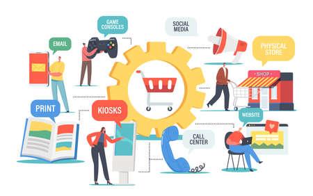 Omnichannel Concept, Several Communication Channels Between Seller and Customer. Digital Marketing, Online Shopping