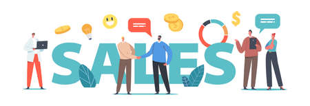 Sales Concept. Businesspeople Male and Female Characters Shaking Hands, Discuss Working Issues, Working on Marketing
