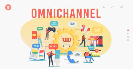 Omnichannel Landing Page Template. Several Channels Between Seller and Customer. Digital Marketing, Online Shopping