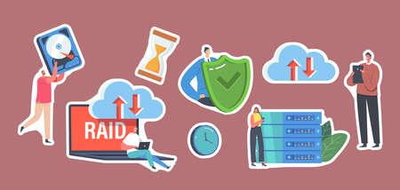 Set of Stickers Characters in Data Center, Laptop with RAID, Redundant Array of Independent Disks Storage, Backup Ilustração