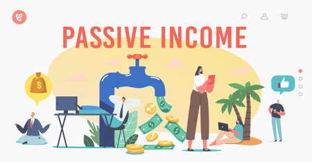 Passive Income Landing Page Template. Tiny Characters around Huge Tap with Money Flow. Stock Market Investing, Work