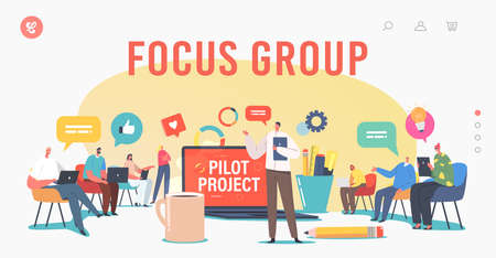 Focus Group Landing Page Template. Director and Employees Meet. Tiny Businesspeople around Huge Laptop Discuss Project