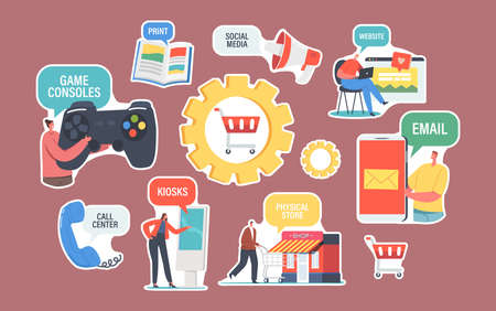 Set of Stickers Omnichannel. Communication Channels Between Seller and Customer. Digital Marketing, Online Shopping