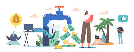 Tiny Characters around Huge Tap with Money Flow. Stock Market Investing, Online Remote Job, Freelance Passive Income Ilustração