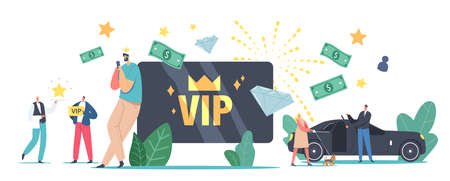 VIP Card, Celebrity Lifestyle. Luxury Characters with Gold Cards Get Premium Service, Limousine, Waiter Carry Star