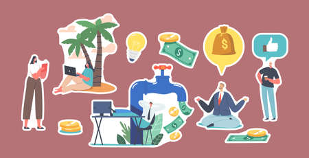 Set Stickers Character at Huge Tap with Money Flow. Freelancer under Palm, Stock Market Investing, Online Monetization