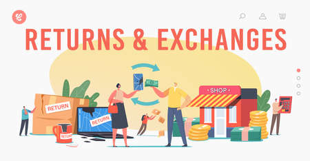 Return and Exchange Landing Page Template. Characters Dissatisfied with Damaged Things Delivery, Cracked Laptop