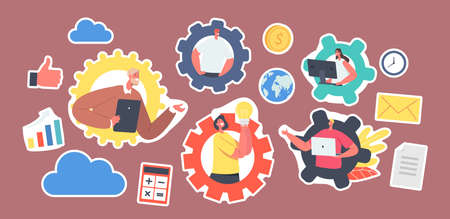 Set of Stickers Business Characters Remote Team Working. Webcam Group Conference with Coworkers via Computer or Device