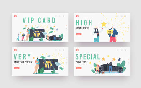 VIP Card, Celebrity Person Life Landing Page Template Set. Characters with Gold Cards Premium Service, Woman with Dog