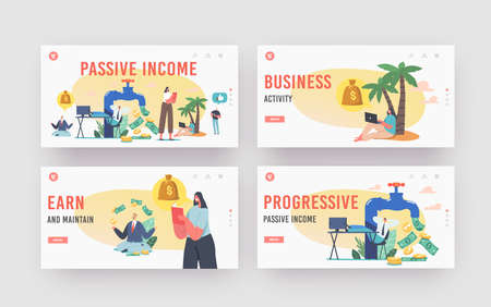 Passive Income Landing Page Template Set. Tiny Characters around Huge Tap with Money Flow. Stock Market Investing