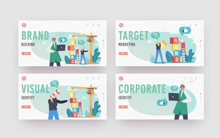 Brand Building Landing Page Template Set. Characters Work on Crane Create Corporate Identity, Company Development