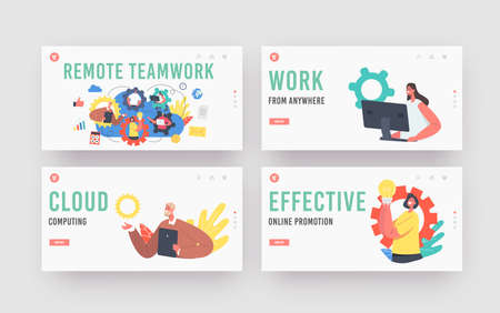 Remote Teamwork Landing Page Template Set. Webcam Group Conference with Coworkers. Business Characters, Video Call