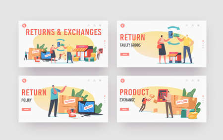Return and Exchange Landing Page Template Set. Characters Dissatisfied with Damaged Things Delivery, Cracked Laptop