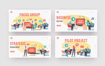 Focus Group Landing Page Template Set. Director and Employees Meeting. Businesspeople Discuss Pilot Start Up Project