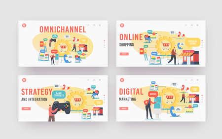 Omnichannel Landing Page Template Set. Several Channels Between Seller and Customer. Digital Marketing, Online Shopping