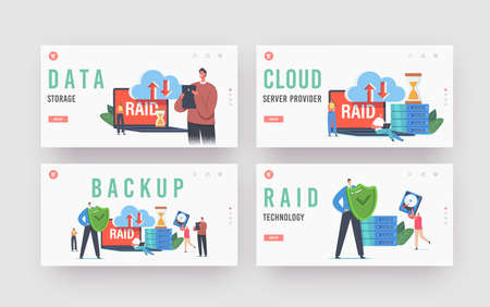 Backup Landing Page Template Set. Tiny Characters in Data Center around Huge Laptop with RAID, Redundant Array