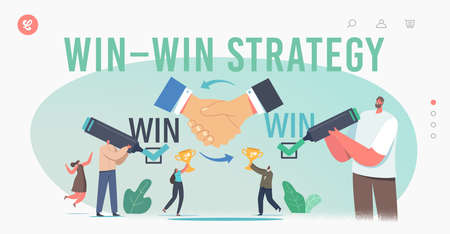 Win Win Strategy Solution Landing Page Template. Business Partners Characters Agreement, Partnership, Winwin Benefit Ilustração