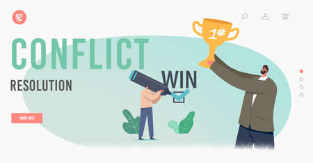 Conflict Resolution Landing Page Template. Business Win Win Benefit. Happy Businessman Characters Rejoice with Cup