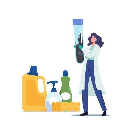 Remediation Specialist Character in Uniform Inspect Walls Collect Black Mold into Test Tube. Tiny Woman with Huge Beaker Ilustração