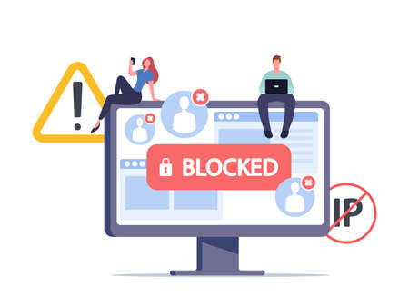 Censorship Blocking or Ransomware Activity Security. Tiny Male and Female Characters Sitting on Huge Computer Monitor