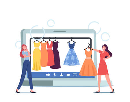 Professional Shopper Female Character and Personal Fashion Stylist Choose Stylish Clothes in Online Apparel Store