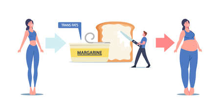 Slim Woman Become Fat causes Eating Trans Fats and Margarine Cholesterol Products. Tiny Man Put Spread on Huge Toast
