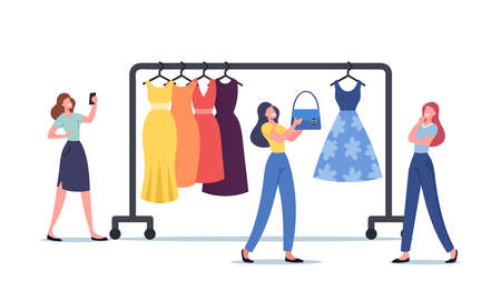 Woman Chat with Wardrobe Consultant Online via Smartphone. Female Character Choose Dress in Store with Fashion Stylist
