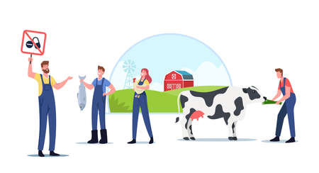 Eco Farming and Sustainable Organic Agriculture. Farmers for Animal Husbandry Free from Antibiotics or Hormones
