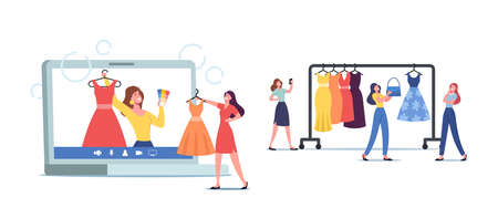 Wardrobe Consultant on Laptop Screen Advice to Women about Design Issues and Clients Clothes. Personal Fashion Stylist